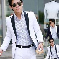 Hot sale New Stylish Men's Casual Blazer Slim fit Single Button Pop Suit Blazer Coat Jacket White free shipping