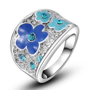 Мода элегантный 18 К настоящее позолоченные SWA элементы австрийский хрусталь синий ...