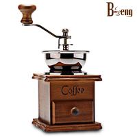 Beng coffee hand grinder wood log grinding machine manual gristmill