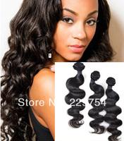 Virgin remy brazilian human hair 100% human hair natural color body wave 100g / Pcs 4 Pcs/Lot mixed length r  Free Shipping