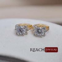 T90076 Fashion 18K Glod Plated Earrings Glistening CZ Rhinestone Crystal Earrings For Women Girl's  Earrings Flower Shape