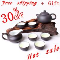 Free shipping chinese kung fu tea set top quality Yixing purple clay tea pot reasonable price hot sale tea cup 8pcs/set