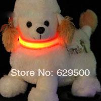 Safety Pet LED Dog Collar Nylon Light-up Flashing Glow Dog Collar 20pcs/lot