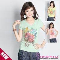 Mix match hand painting print rhinestones V-neck short-sleeve T-shirt 125246  free shipping