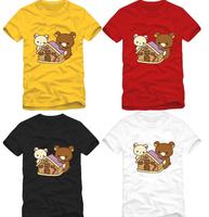 2014 short sleeve t shirt  Lovers t shirt for women and men summer t shirt cartoon bear print  t shirt
