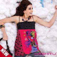 Kashitu fafi personality pattern spaghetti strap one-piece dress female vest  free shipping