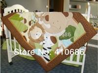Embroidery 3d Jungle Animals Boy Baby Cot Cribs Bedding sets 6pcs Comforter Sheet Bumpers Bedskirt Diaper Stacker Blanket