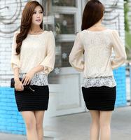 Hot-selling fashion loose chiffon shirt female o-neck slim sexy lace women's T-shirt