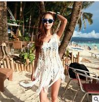 2014 New Women Crochet Bikini Beach Cover Ups Hollow Cotton Sleeveless Beachwear Sun Protective Shirt Top Swimwear Knitted Smock