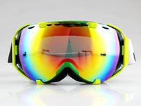 GREEN FRAME COLOURED DOUBLE LENS ADULT MOTOCROSS SNOW SNOWBOARD SKI GOGGLES