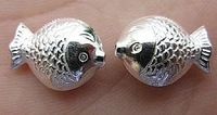 2014 New 990 whitebait fish kissing accessories handmade sterling silver trumpet DIY beads