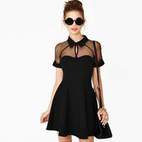 817# New 2014 Summer Fashion Lace Gauze Patchwork Chiffon Sexy Slim Dress For Women Short Sleeve Black High Waist Casual Dresses
