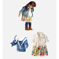 Girl Flower Clothing Set Children Cardigan & Dress Sets New 2014 Wholesale Children Cotton Fashion Clothes RD4704