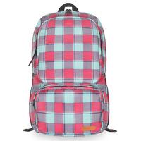 Vintage plaid color block brief outdoor travel waterproof backpack