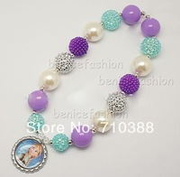2PCS/Lot NC40315 Chunky bubblegum cute beads bottle cap frozen Anna pandent necklace free shipping