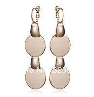 New arrival 18k rose gold plated high quality classice vintage fashion round sheet drop earrings F&H Vinneios jewelry wholesale