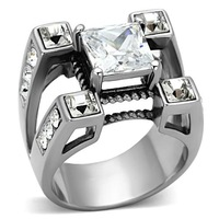 2014 Latest Jewelry Stainless Steel AAA Grade CZ Ring Men Wedding Rings Lead Free Allergy Free Wedding Party Gift