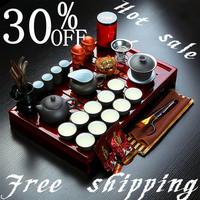 Free shipping Instocked Hot sale Ordovician tea set yixing ceramic kungfu tea set 27pcs solid wood tea tray kungfu tea set