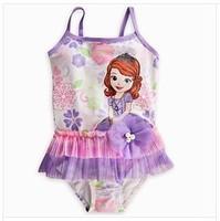 free  shipping Foreign trade original single paragraph princess cartoon swimsuit one-piece girl swimsuit veil children swimwear