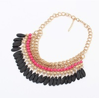 2014 New Layered Bohemian Tassels Fringe Drop Vintage Gold Choker Chain Neon Bib Statement Necklace Fashion Jewelry For Women
