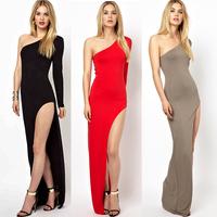 Hotsale New Women's Celeb Party Evening Prom Long Side Split Dress One Shoulder Maxi Dress