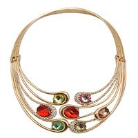 Golden  Fashion Popular  Multicolour Gem Fashion Collar