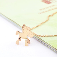 Lucky necklace female rose gold necklace pendant accessories