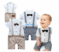 Free Shipping 1pc Newborn Infantil Bebe Baby Boy Toddlers Kids Bowknot Gentleman Romper Jumpsuit Clothing Clothes Blue Beige