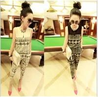 2014 spring new European and American big summer chiffon piece pants stitching piece jumpsuit pants Korean Women