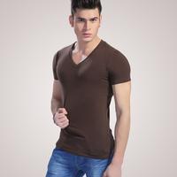 2pcs/lot 2 men's V-neck 100% cotton short-sleeve slim basic t-shirt male underwear