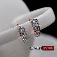 T90085 Full Shining White Topaz 18K Gold Plated Earrings CZ Stones Gorgeous Stud Earrings for Formal Banquet Earrings