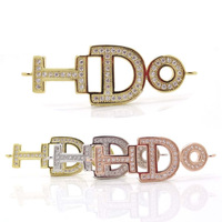 "New Charms ""I DO"" Letter Jewelry Connectors Micro Pave Zircon Crystal Pendant Beads For Love Bracelets Making Accessories"