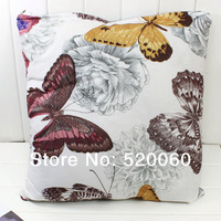 Retro Vintage Flower Butterfly Home Decorative Pillow Case Sofa Cushion Cover 18''