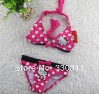 Hot Sale Hello Kitty Children Swimwear Suit Girls Bikinis Suit Two Pieces 2-10 age 5pc / lot