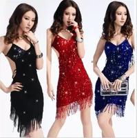 Fashion one piece Latin tassel table ds costume paillette one piece Latin dance fashion