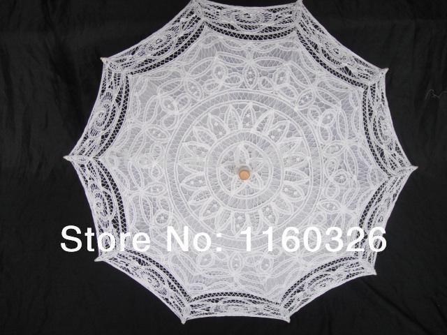 Hot venda feita à mão moda lace white wedding parasol guarda-chuva tamanho : 48 cm Made in china(China (Mainland))