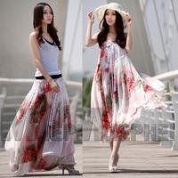 2014 Summer women's  slim bohemia chiffon flower bust skirt  two ways skirt beach skirt boho style long skirt