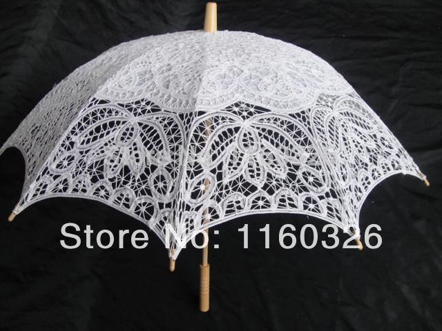 Hot venda feita à m?o moda rendas brancas guarda-sol guarda-chuva de casamento Tamanho : 48 centímetros Made in china(China (Mainland))