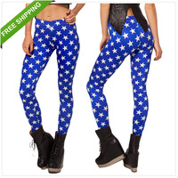 New Women Fashion White five-pointed star Sexy Leggings Digital Space Print Pants  Leggings Plus Size 3179 FREE SHIPPING