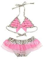 wholesale 2014 new girls leopard lace bikini suits children's swimsuit suits 90-130 5pc / lot