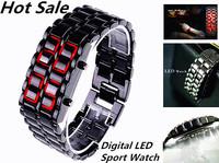 Free Drop shipping Japan LED Display Watch For Men/Women Clock Casual Full Stainless Steel Dress watch Lava Sport Digital Watch