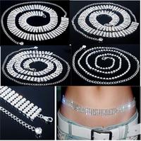 Luxury 5 Styles Shiny Silver Plated Austrian Crystal Sexy Belt Belly Chain Wedding Belt Jewelry
