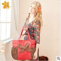 New 2014 bow Beautiful Polka Dot Girls shoulder bag Young women handbag Sweet lady handbags