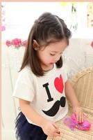 5pcs/lot  summer baby girl clothing set kid lovely print T-shirt white cotton tops+legging new 2014 kid girls dress