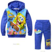 2014 Boys Clothing Sets Spongebob Square Pants Kids Clothes Children Winter Coat+pants Blusas Moleton Conjunto Infantil Roupas