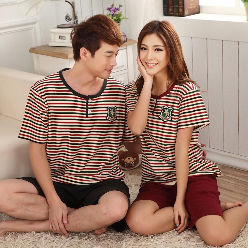 Lovers sleepwear 100% cotton stripe at home spring and summer short-sleeve capris cartoon print male women's lounge set(China (Mainland))