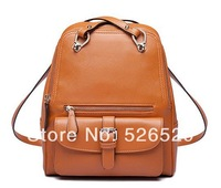 Free Shipping New arrival college preppy style women brown bag fashion quality leather female vintage school student backpack