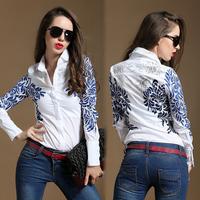 Free Shipping European Fashion Porcelain Flower Printed Long Sleeve Shirt Slim Fit Women White Blouse Sheer Shirts S-XXXL