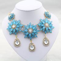 #651 Fashion Luxury Blue/Light Purple Flower Crystal Statement Necklace Women Costume Accessory Jewelry Free Shipping