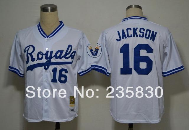 Top quality baseball jersey Royals 16# BO jackson white throwback 1980 cool MLB shirt for mens exercise(China (Mainland))